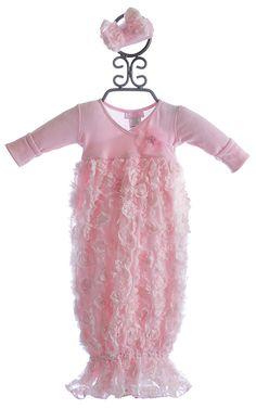 Bebemonde Pink Rose Garden Newborn Take Home Gown $53.00