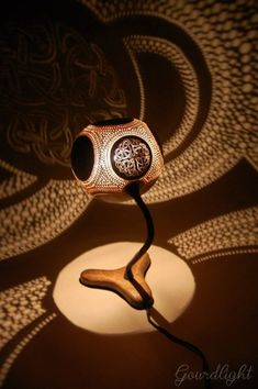 Handcrafted gourd lamps by Gourdlight