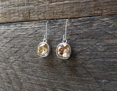 Champagne Cushion Earrings Swarovski Crystal Square Dangle on Silver or Gold French Wire Hook by haileyallendesigns