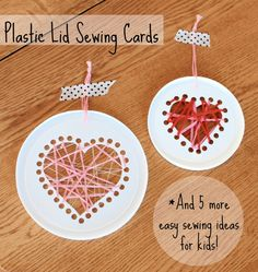 Sewing cards from lids -A fun way to strengthen little hands- and practice prepositions too! Craft Activities, Preschool Crafts, Crafts For Kids, Valentine Day Crafts, Holiday Crafts, Valentines, Projects For Kids, Sewing Projects, Sewing Ideas