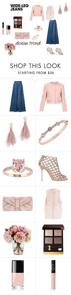 """Pink and denim"" by micettes ❤ liked on Polyvore featuring Carolina Herrera, RED Valentino, Lizzie Fortunato, Givenchy, Sergio Rossi, Valentino, Emilio Pucci, Frontgate, Chanel and NARS Cosmetics"
