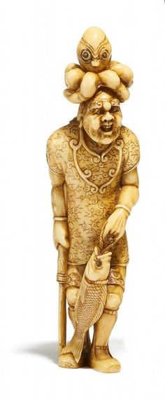 NETSUKE. HOHODEMI WITH OCTOPUS. IVORY: SIGN.: MINKOKU. Second half 19th c. Japanese History, Japanese Art, Dragon King, Deities, Asian Art, Samurai, Sculptures, Miniatures, Ivory