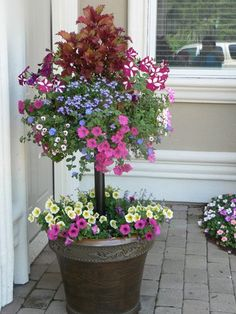 By the front door - this planter says welcone home! Planter with stem basket - This is really cool looking! A living topiary with flowers! Container Plants, Container Gardening, Flower Containers, Succulent Containers, Container Size, Deco Floral, Small Space Gardening, Garden Planters, Patio Plants