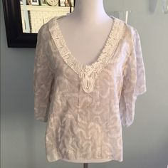 Anthropologie  sheer top Beautiful short sleeve Anthropologie top. Ivory and sage green. Anthropologie Tops