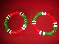 Multi-colored Masaai Kenyan beaded BangleBracelet Set of 2
