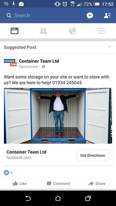 Container ad facebook. Not going to use this