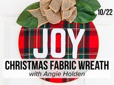 Join us for a crafting class on 10/22 at 1pm CT and learn how to make this beautiful DIY Christmas fabric wreath! Homemade Christmas Wreaths, Easy Christmas Crafts, Simple Christmas, Christmas Holidays, Shabby Chic Christmas, Christmas Fabric, Crate Ottoman, Popular Crafts, Fabric Wreath