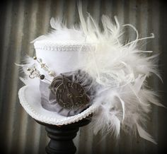 Mini Top Hat The White Rabbit in Pewter Alice in Wonderland Mini Top Hat Tea Party Hat Steampunk Hat Gear Hat Mad Hatter Hat #steampunkhat