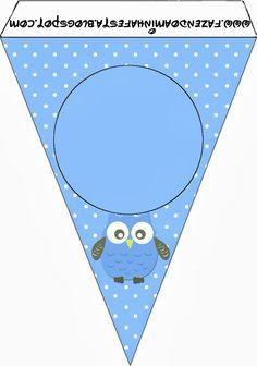 kit completo corujinha azul para meninos!