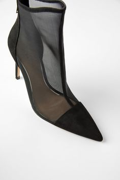 Black ankle boots with heels and mesh uppers. Features lined stiletto heels and the toe is covered with a combination of materials. Heel height of 10 cm. Black Heeled Ankle Boots, Black Heels, Ankle Booties, Bootie Boots, Shoe Boots, High Heels, Comfortable Dress Shoes, Stiletto Heels, Kitten Heels