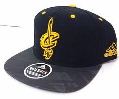 b01de9ef737 Adidas CLEVELAND CAVALIERS SNAPBACK HAT Black Yellow Cavs Sword-Logo Wool  Mens  adidas  ClevelandCavaliers