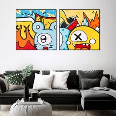 Pop Art Wall Art For Living Room Set Of 2 Art Print For | Etsy Extra Large Wall Art, Large Art, Canvas Wall Decor, Wall Art Decor, Office Artwork, Tiki Art, Colorful Wall Art, Living Room Art, Whimsical Art