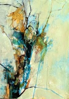 """Mixed Media Artists International: Contemporary Abstract Landscape Painting """"Elegant Textures"""" by Intuitive Artist Joan Fullerton"""
