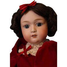 "18"" Antique Gebruder Heubach Doll # 8192 German bisque Character Glass from turnofthecenturyantiques on Ruby Lane"