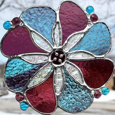 Light Blue and Cranberry Purple Stained Glass by GoodGriefGlass