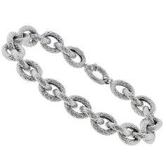 14k White Tubular Gold Chain Bracelet