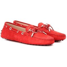 Tod's Gommino Suede Loafers (750 CAD) ❤ liked on Polyvore featuring shoes, loafers, red, suede shoes, red suede shoes, red loafer shoes, tods shoes and red loafers