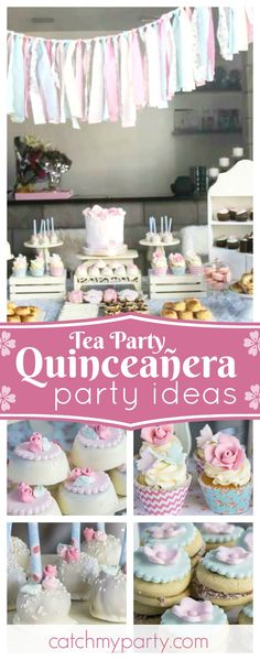 Take a look at this beautiful Quinceañera vintage Tea party. The cupcakes are incredible!! See more party ideas and share yours at CatchMyParty.com