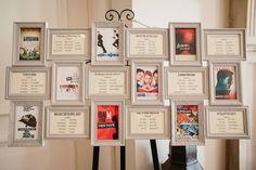 idée plan de table mariage à thème films avec cadres et posters