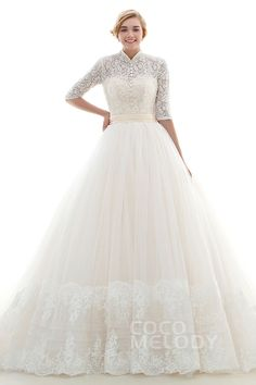 Modern A-Line High Neck Natural Chapel Train Tulle Ivory/Champagne Half Sleeve Lace Up-Corset Wedding Dress #JWLT16004 #cocomelody #weddingdress