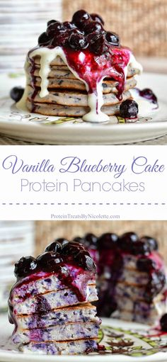 Protein Treats By Nicolette : Vanilla Blueberry Cake Protein Pancakes ½ scoop Giant Sports vanilla shake protein powder cup oat flour 2 egg whites ¼ cup almond milk ¼ cup blueberries 1 tablespoon cashew butter Protein Snacks, Pancakes Protein, High Protein, Protein Cake, Crepes, Breakfast Recipes, Dessert Recipes, Pancake Recipes, Breakfast Pancakes