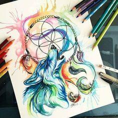 #inked #wolf #dreamcatcher #tattoo #tatuagem #indian #watercolor #drawing #alineymarques