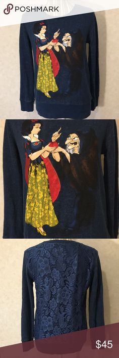 Disney Fairytale Designer Collection sweatshirt Navy blue Snow White and the witch sweatshirt with floral lace back. The back is not see through. See pictured measurements. Disney Tops Sweatshirts & Hoodies