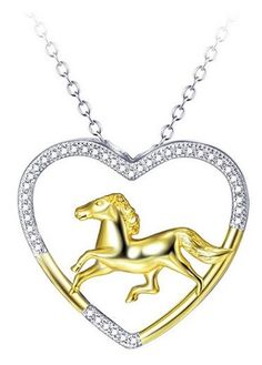 Horse Sterling Silver Heart Necklace