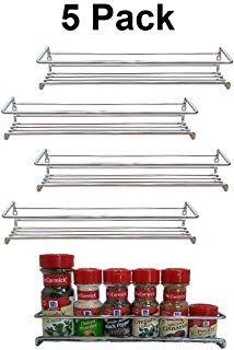 Premium Presents 5 Pack Wall Mount Spice Rack Organizer For Cabinet Spice Shelf Seasoning Organizer Pantry Door Organizer Spice Stor Wall Mounted Spice Rack
