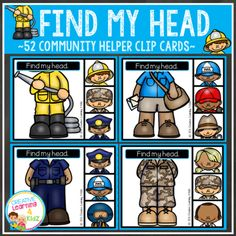 Find+My+Head+Clip+Cards:+Community+Helpers+from+Creative+Learning+4+Kidz+on+TeachersNotebook.com+-++(13+pages)++-+Find+My+Head+Clip+Cards:+Community+Helpers