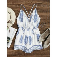 Aztec Print Criss Cross Back Pom Pom Romper (€16) ❤ liked on Polyvore featuring jumpsuits, rompers, jumpsuit, romper, white, playsuit romper, romper jumpsuit, long-sleeve romper, sleeve jumpsuit and print jumpsuit