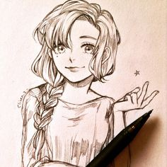 Cute Girl Drawing, Anime Drawings Sketches, Anime Sketch, Manga Drawing, Manga Art, Dark Art Drawings, Girly Drawings, Easy Drawings, Rides Front