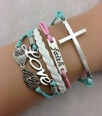 love and faith Owl Bracelet, Cord Bracelets, Hipster Jewelry, Bridesmaid Bracelet, Boy Or Girl, Jewelry Accessories, Teal, Charmed, Chain