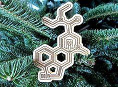 Wood Carved LSD Molecule Ornament
