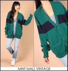 Vtg 80s Preppy Gap Emerald Navy Rugby Stripe Wool Boyfriend Cardigan Sweater   eBay