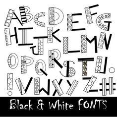 Fonts - fun black and white doodle alphabet clip art by casey lepke Cute Fonts Alphabet, Bubble Letter Fonts, Doodle Alphabet, Doodle Art Letters, Hand Lettering Alphabet, Doodle Fonts, Doodle Lettering, Creative Lettering, Lettering Styles