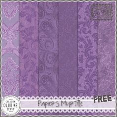 Freebies : Papers Pack (Set of 6 Pngs) Papiers Myrtille (Purple) from Cajoline-Scrap