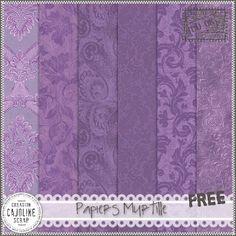 Freebies : Papers Pack (Set of 6 Pngs) Papiers Myrtille (Purple) from Cajoline-Scrap