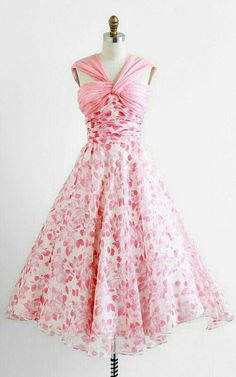 Pink and white 50s inspired dress
