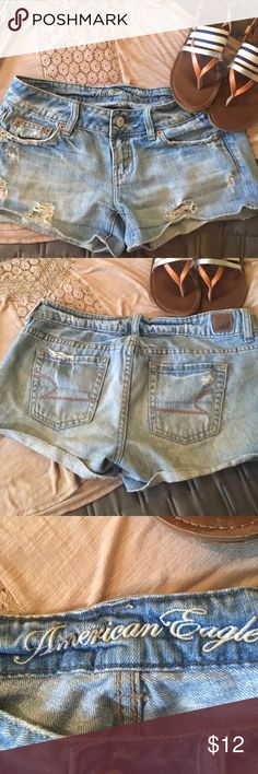 """American Eagle Jean shorts American Eagle Jean shorts. Distressed. Size 2.5"""" inseam unrolled. American Eagle Outfitters Shorts Jean Shorts"""