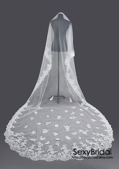 Cathedral Length One Tier Veil  Bridal Mantilla veil bridal veil wedding veil ivory. $65.00, via Etsy.