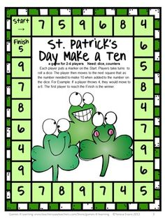 FREEBIES - St Patrick's Day Math Printables from Games 4 Learning. This set includes 3 St. Patrick's Day math activities- 2 math board games and a math puzzle sheet.