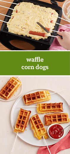 Waffle Corn Dogs – Make these savory waffle corn dogs for your kids and watch their smiles grow! Filled with beef franks and baked with a corn muffin mix, these make the perfect party appetizers or kid-friendly dinnertime dish.