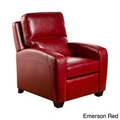 The perfect chair to relax in at the end of a long day, this modern leather recliner has stylish top stitching and tapered wooden legs for added elegance. It comes in a variety of colors to match your room decor, and it is engineered to last.