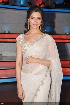 Deepika Padukone looks graceful in sari on the sets of 'Nach Baliye 5' in Mumbai