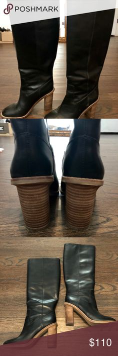 """Madewell black leather boots 5.5 Except used condition black leather boots size 5.5. Worn a handful of times. Heel is 3.5"""" Madewell Shoes Heeled Boots"""