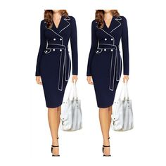 Rotita Button Embellished Navy Blue Bodycon Dress ($23) ❤ liked on Polyvore featuring dresses, navy blue, knee-length dresses, navy long sleeve dress, navy dress, navy blue dress and sheath dress
