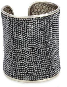 """Deanna Hamro Atelier """"Lulu"""" Jet Hematite-Color Wide Pave Cuff Bracelet"""