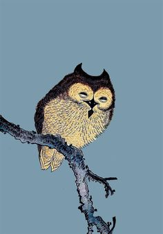'Owl in Tree Branch' (reproduction of a Japanese woodcut, artist unknown)