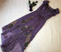 PEACOCK dress COSTUME size 8 unique with headpc. hand made one of a kind cosplay…